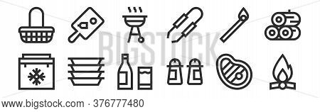 Set Of 12 Thin Outline Icons Such As Bonfire, Condiment, Plastic, Match, Bbq, Cutting Board For Web,