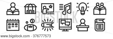 Set Of 12 Thin Outline Icons Such As Ebook, Online Chat, Ball Sports, Idea, Creative Teaching, Unive