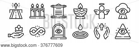 Set Of 12 Thin Outline Icons Such As God, Water Drop, Infinite, Angel, Scroll, Candles For Web, Mobi