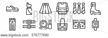 Set Of 12 Thin Outline Icons Such As Wristwatch, Purse, Belt, Ties, Skirt, Dress For Web, Mobile