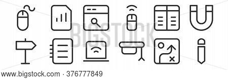 Set Of 12 Thin Outline Icons Such As Pencil, Mortarboard, Notebook, Table, Web Search Engine, Statis