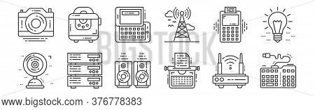 12 Set Of Linear Technology Devices Icons. Thin Outline Icons Such As Keyboard, Typewriter, Server,