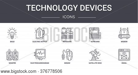 Technology Devices Concept Line Icons Set. Contains Icons Usable For Web, Logo, Ui Ux Such As Electr
