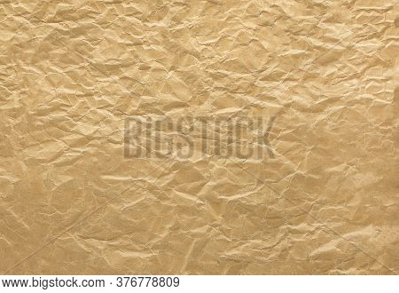 Closeup To Brown Crumpled Paper Texture Background,abstract
