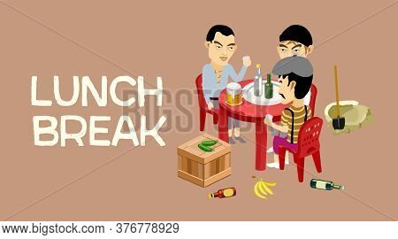 Business Lunch, Lunch, Lunch Break. Men Rest Between Work. Men Drink Beer. Workers Rest. Vector Illu