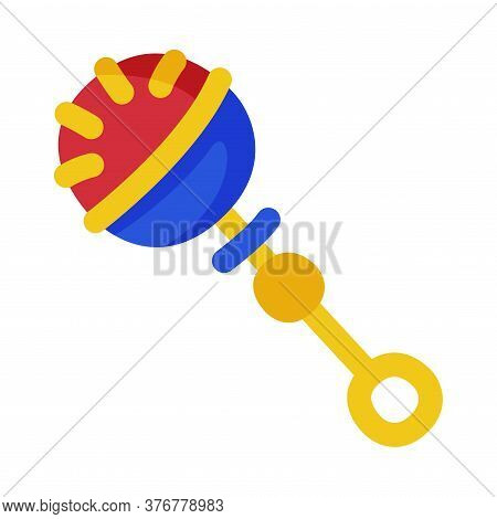 Colorful Rattle Baby Toy, Cute Object For Kids Development And Entertainment Cartoon Vector Illustra