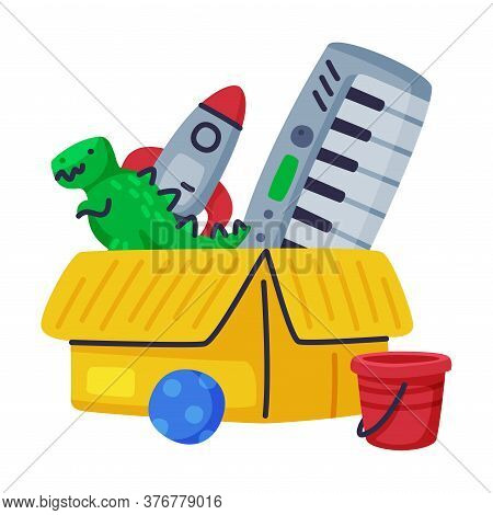 Cardboard Box Of Baby Toys, Rocket, Dinosaur, Piano, Ball Cute Objects For Kids Development And Ente