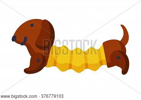 Stuffed Dachshund Dog Baby Toy, Cute Object For Kids Development And Entertainment Cartoon Vector Il