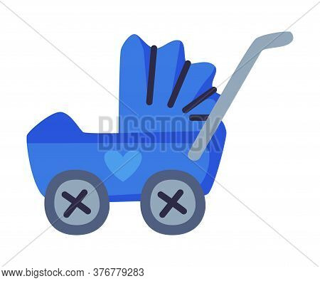 Blue Pram Baby Toy, Cute Object For Kids Development And Entertainment Cartoon Vector Illustration O