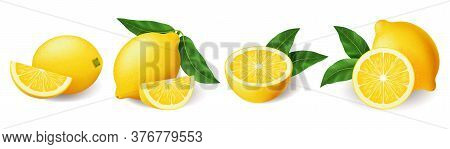 Realistic Bright Yellow Lemon With Green Leaf Whole And Sliced Set