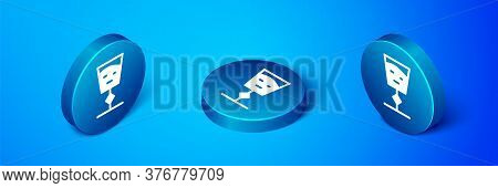 Isometric Wine Glass Icon Isolated On Blue Background. Wineglass Sign. Blue Circle Button. Vector Il