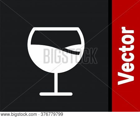 White Wine Glass Icon Isolated On Black Background. Wineglass Sign. Vector Illustration