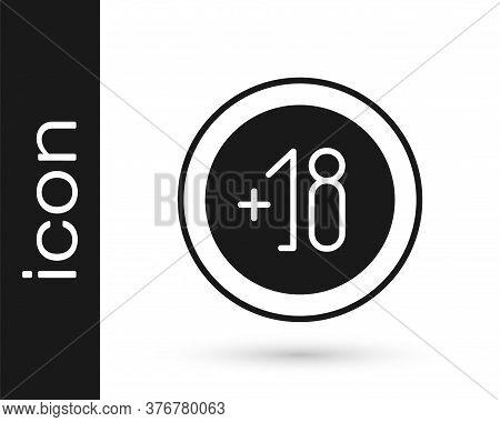 Grey Alcohol 18 Plus Icon Isolated On White Background. Prohibiting Alcohol Beverages. Vector Illust