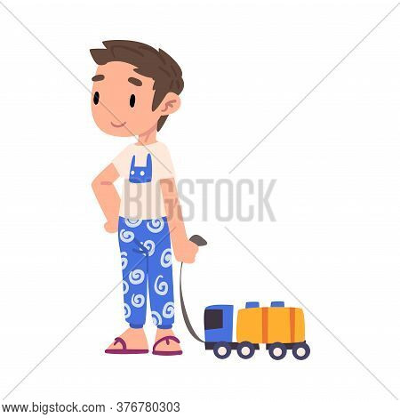 Cute Boy Pulling Toy Car On String, Adorable Kid Playing With Favorite Toy Cartoon Vector Illustrati