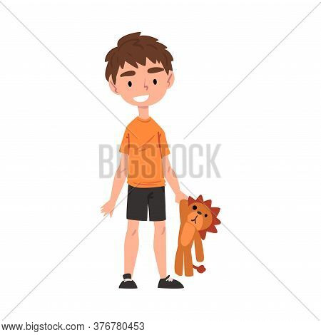 Cute Boy Holding Plush Lion, Adorable Kid Playing With Favorite Toy Cartoon Vector Illustration On W