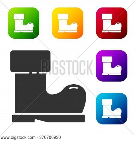 Black Waterproof Rubber Boot Icon Isolated On White Background. Gumboots For Rainy Weather, Fishing,