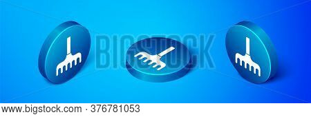 Isometric Garden Rake Icon Isolated On Blue Background. Tool For Horticulture, Agriculture, Farming.