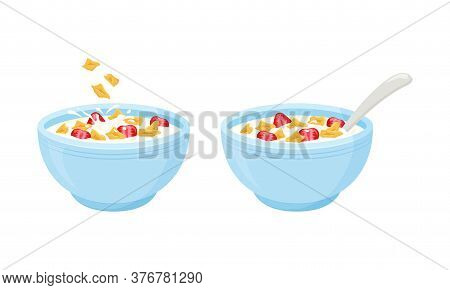 Cereal Flake Milk Breakfast. Rolled Oats Bowl With Strawberry. Oatmeal Breakfast Cup. Vector Illustr