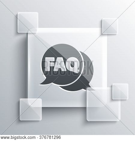 Grey Speech Bubble With Text Faq Information Icon Isolated On Grey Background. Circle Button With Te