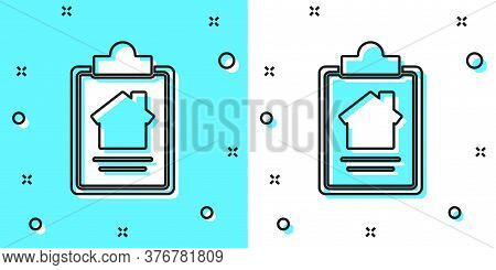 Black Line House Contract Icon Isolated On Green And White Background. Contract Creation Service, Do