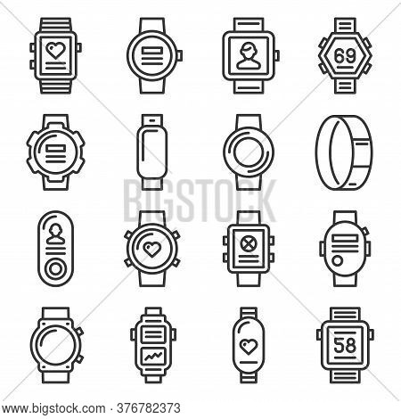Smart Watch And Fitness Bracelet Icons Set On White Background. Line Style Vector