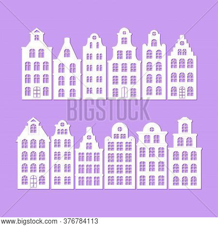 Set Of European Old Buildings. Facades Of Historical Houses In The Dutch Style. Vector Silhouette, D