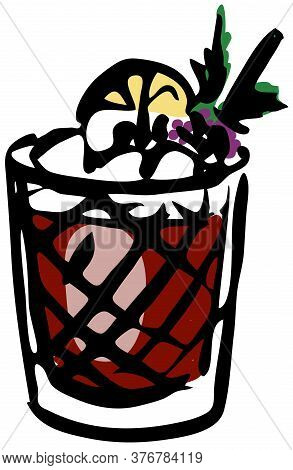 Stylish Hand-drawn Ink Style Ice Cold Fresh Bramble Cocktail Garnished With Lemon And Blackberries I
