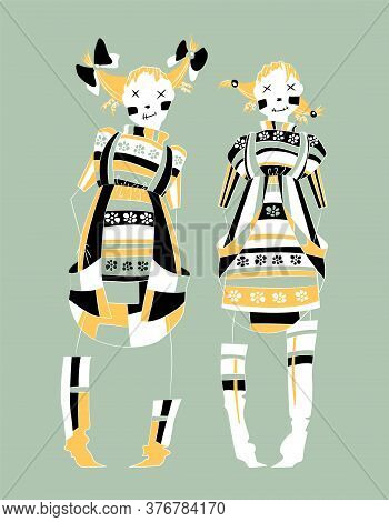 Smile Girls Skeleton With Dress, Character Design. Funny Witch Or Voodoo Doll In Flat Style. Hand Dr