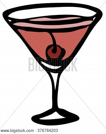 Stylish Hand-drawn Ink Style Cool Red Pink Cosmopolitan Manhattan Garnished With Maraschino Cherry I