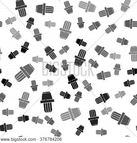 Black Cactus And Succulent In Pot Icon Isolated Seamless Pattern On White Background. Plant Growing