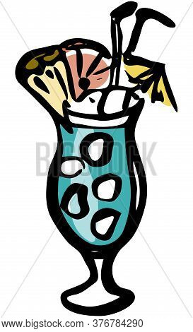 Stylish Hand-drawn Ink Style Blue Lagoon Summer Tiki Cocktail Garnished With Pine Apple Citrus And U