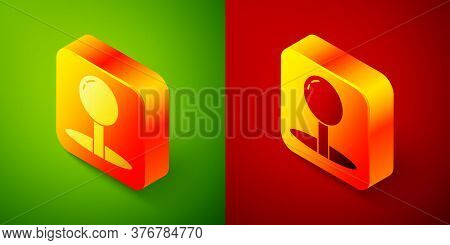 Isometric Push Pin Icon Isolated On Green And Red Background. Thumbtacks Sign. Square Button. Vector
