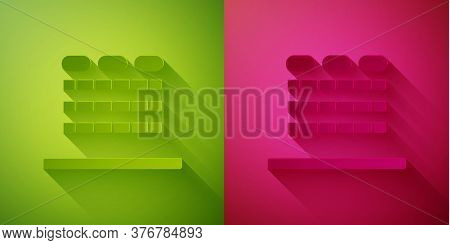 Paper Cut Cinema Auditorium With Screen And Seats Icon Isolated On Green And Pink Background. Paper
