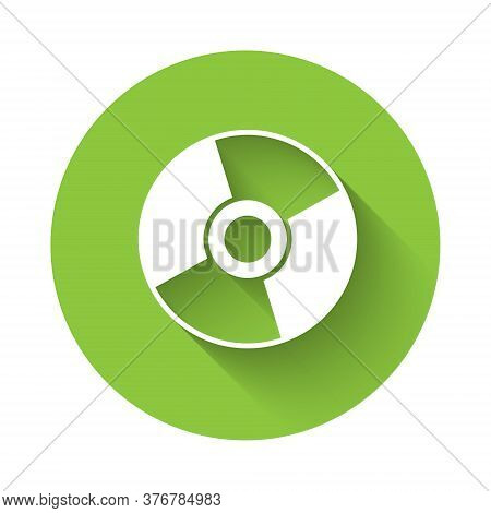 White Cd Or Dvd Disk Icon Isolated With Long Shadow. Compact Disc Sign. Green Circle Button. Vector