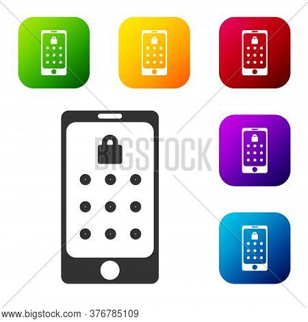 Black Mobile Phone And Graphic Password Protection Icon Isolated On White Background. Security, Pers