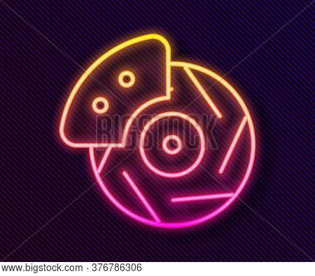 Glowing Neon Line Car Brake Disk With Caliper Icon Isolated On Black Background. Vector Illustration