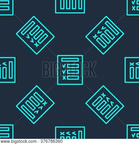 Green Line Car Inspection Icon Isolated Seamless Pattern On Blue Background. Car Service. Vector Ill