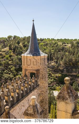 Segovia, Spain - April 24, 2019: The famous Alcazar castle of Segovia, Castilla y Leon, Spain