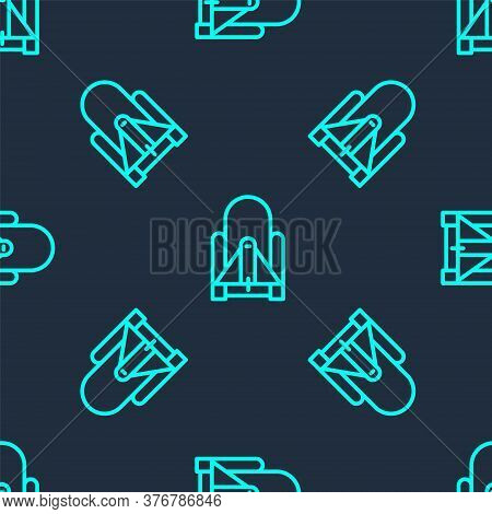 Green Line Rocket Launch From The Spaceport Icon Isolated Seamless Pattern On Blue Background. Launc