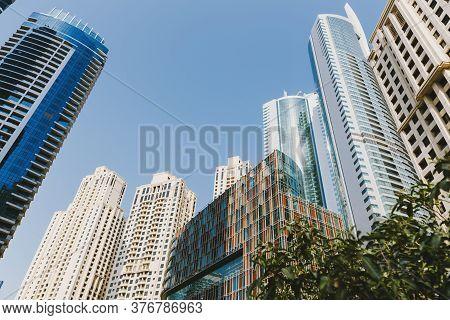 Dubai; Uae - June 6, 2020: Skyscrapers At Jumeirah Beach Residence, Popular Residential Area In Duba