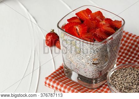 Bowl Of Chia Pudding With Fresh Strawberries