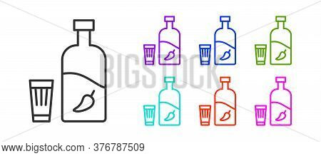 Black Line Vodka With Pepper And Glass Icon Isolated On White Background. Ukrainian National Alcohol