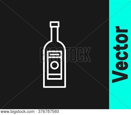 White Line Glass Bottle Of Vodka Icon Isolated On Black Background. Vector Illustration
