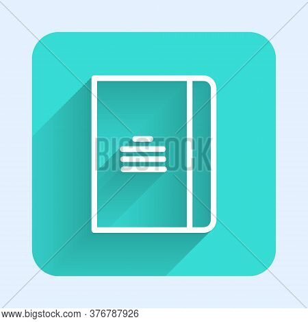 White Line Notebook Icon Isolated With Long Shadow. Spiral Notepad Icon. School Notebook. Writing Pa