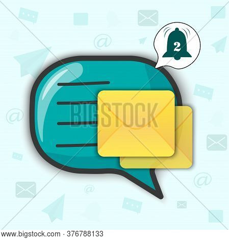 Speech Icon In Cartoon Style With Bright Yellow Sealed Letter. The Bell Rings, Notification That An