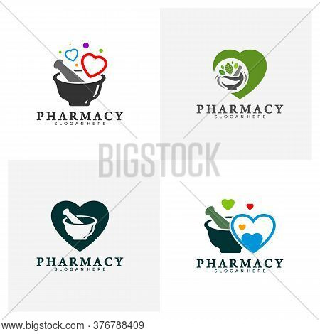 Set Of Pharmacy With Love Logo Design Template, Medical Pharmacy Logo Vector, Icon Symbol