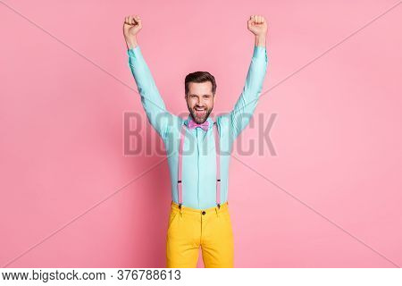 Portrait Of His He Nice Attractive Handsome Glad Successful Cheerful Cheery Bearded Guy Wearing Fest