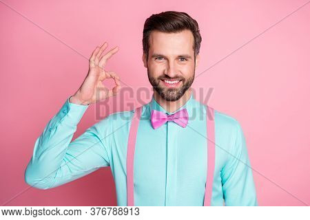 Close-up Portrait Of His He Nice Attractive Handsome Content Fashionable Cheerful Cheery Glad Guy We