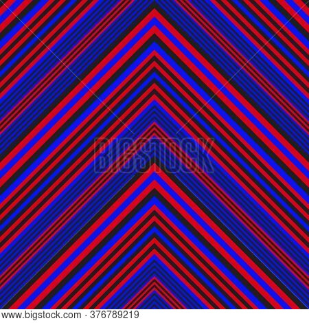Red And Blue Chevron Diagonal Stripes Seamless Pattern Background