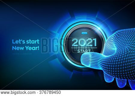 2021 Start. Finger About To Press A Button With The Text 2021 Start. Happy New Year. New Year Two Th